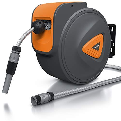 Brandson - 20 m Schlauchtrommel - Gartenschlauch - Automatisch einziehbar - Schlauchdurchmesser 13 mm - 180 Grad drehbar - Kompatibel mit Gardena Produkten - Durchmesser 37 cm