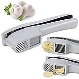 Prensa de ajos Miuse 2 en 1 profesional Garlic Press, aluminio robusto, cortador de ajos, para hacer galletas de ajos domésticas