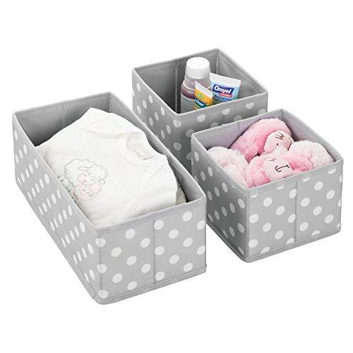 mDesign Juego de 3 cajas de almacenaje para habitaciones infantiles o baños – Cestas organizadoras en fibra sintética de...