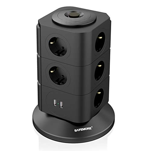 Safemore 2100J Stekkerdoos, schakelbaar, 11-voudig, meervoudige stekkertoren, 2 USB-poorten (5 V/2,1 A), overspanningsbeveiliging, met overbelastingsbeveiliging voor smartphone, babyfoon