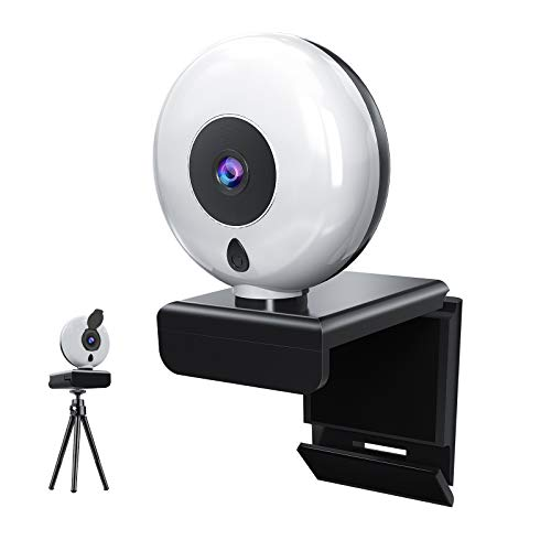 1080P HD Webcam, 2020 [Upgraded] Streaming Webcam with Ring Light and Dual Microphone and Privacy Cover, Adjustable Brightness, Plug & Play, Web Camera for Skype Zoom Facetime, PC Mac Laptop Desktop