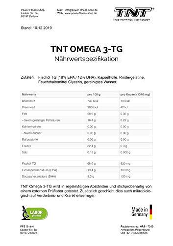 TNT Omega 3-TG │ Hochwertige und essentielle Fettsäuren │ Fischölkapseln mit EPA und DHA unterstützen die Gesundheit, Fitness und das Immunsysstem │150 Kapseln - 5