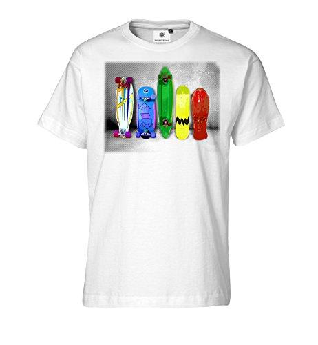 Customized by S.O.S Herren T-Shirt Skateboard Parade (4XL, Weiss)