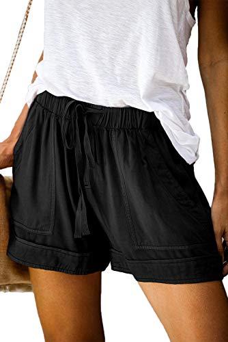Heymiss Womens Casual Drawstring Elastic Waist Tencel Pocketed Beach Summer Shorts Petite Daily Wear Shorts Black XL
