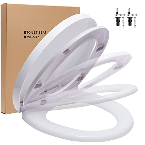 ORSJA Toilettendeckel Absenkautomatik Weiß, WC Sitz mit Schnellverschluss für Einfache Reinigung, Rutschfester Antibakterieller Toilettensitze mit Verstellbaren Edelstahlscharnieren, O-Form (Weiß)