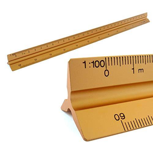 Reglas Escala triangular de aluminio 1: 100, 1: 200, 1: 250, 1: 300, 1: 400, 1: 500, 30 cm de largo