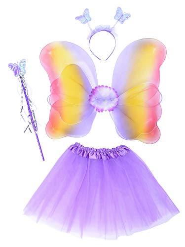 EZSTAX LED Ala de Mariposa 4pcs Disfraz Luminoso de Mariposa para Nias
