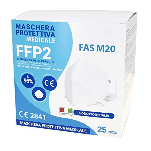 FAS Mascherine FFP2 NR Medical - Made in Italy Certificata CE 2841 EN 149:2001 + A1:2009 + EN 14683 - sigillate singolarmente (25 pezzi)