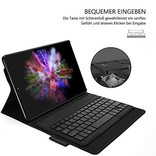 Jelly Comb Samsung Galaxy Tab A 10.1 2019 Tastatur Hülle, abnehmbare wiederaufladbare beleuchtete QWERTZ Bluetooth-Tastatur mit Schützhülle für Samsung Tab A 10.1 T515/T510, Schwarz