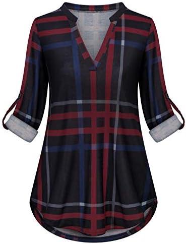 Plaid Shirt for Women Viracy Maternity Zulily Tunics Full Sleeve Tops Henley V Neck Blouses product image