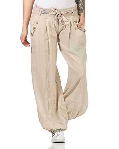 ZARMEXX Donna Pantaloni Harem Pants Pantaloni estivi Pantaloni-aladino Pantaloni spiaggia Cascante Pantaloni cotone - beige, Einheitsgröße: 36-40