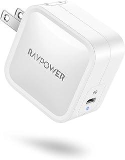 充電器 type-c RAVPOWER (PD対応/61W/超コンパクトサイズ/軽い) 折りたたみ式プラグ PSE認証済 GaN採用 iPhone 12 / 12 Pro / 11 / XR / 8 、Galaxy S10 / S10+、Mac...