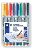 (Pack of 8, 0.4 mm Line Width, Assorted) - Staedtler 311 WP8 Lumocolor Universal Non Permanent Superfine Pens - Assorted Colours