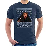 Die Hard Its Not Christmas Unil Hans Gruber Falls from Nakatomi Tower Knit Pattern Men's T-Shirt