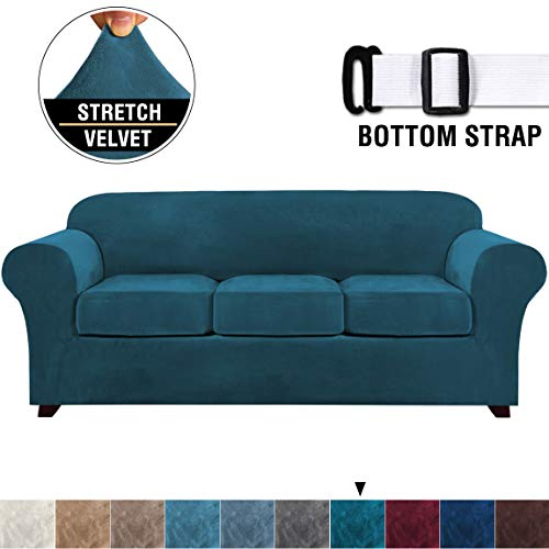 4 Pieces Sofa Covers Stretch Velvet Couch Covers for 3 Cushion Sofa Slipcovers Soft Sofa Slip Covers with 2 Non Slip Straps Furniture Covers with 3 Individual Seat Cushion Covers (Sofa, Deep Teal)