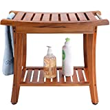 Utoplike Teak Shower Bench Seat with Handles, Portable Wooden Spa Bathing Stool