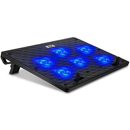 SK Notebook Laptop Kühler Gamer Cooler Ständer Kühlpad Pad Unterlage für 12-17 Zoll // 6X LED 80mm Lüfter, dünn & mobil