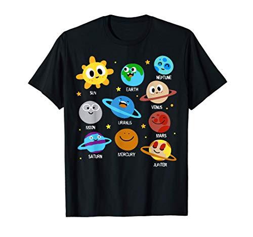 Planetas Del Sistema Solar Para Niños Astronautas Jóvenes Camiseta