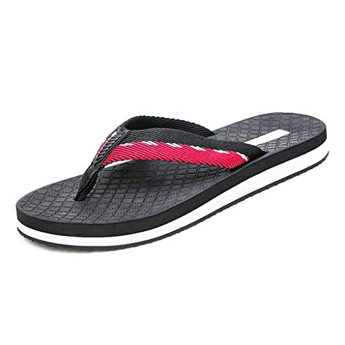 WXYPP Flip légère de Loisirs Hommes Flops intérieur et extérieur Plat antidérapants Chaussures de Plage Shoes (Color : Red, Size : 41)