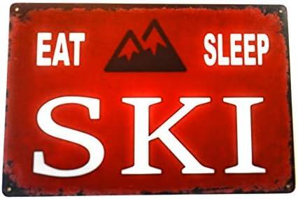 Eat Sleep Ski Tin Sign Ski Lodge Mountain Cabin Themed Colorado Skiing Decor Perfect Decorative product image