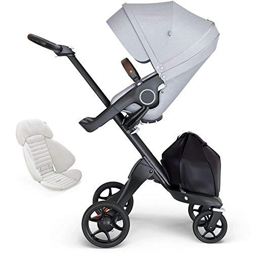 Fantastic Deal! Stokke Xplory Black Chassis, Seat - Grey Melange/Brown Leatherette Handle & Seat Inl...