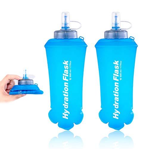LIBRNTY Sacca Idratazione,Pieghevole 500 ml,TPU Bottiglia Riutilizzabile,Borracce Sportive Senza BPA,Approvata FDA,Senza Sapore,Leggera,Duratura,per Escursioni,Ciclismo,Corsa (2pcs)