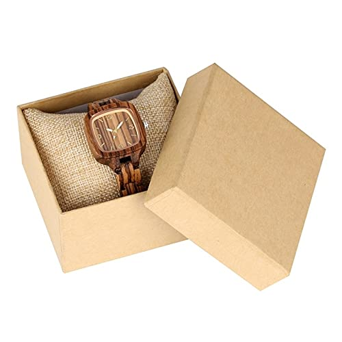 KUELXV Reloj de Pulsera de Madera Reloj de Madera Cuadrado Simple Minimalista para Mujer, Reloj Delgado y Ultra analógico, Brazalete de Madera de bambú Completo, Relojes para Mujer, Cebra con Caja
