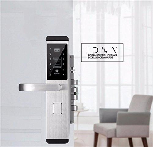 Sknonr Hogar Fingerprint Door Lock Seguridad electrónica Door Card Contraseña Smart Lock Cuatro formas de abrir la puerta (Color : Silver, Size : C)