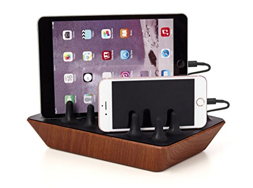 Gelid Solutions Zentree Wooden - Multi USB Ladestation - 4 Port USB Ladegerät für Smartphones, Tablets, PS4 Controller