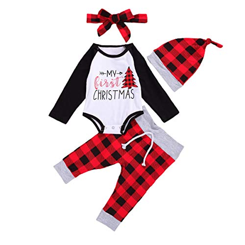 Newborn Baby Boy Girl Christmas Outfit Xmas Clothes Set Long Sleeve Bodysuit Romper + Plaid Pants + Hat Headband (White, 0-3 Months)
