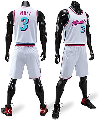 Traje De Ropa De Baloncesto para Hombres Wade Heat 3 Ciudad Versión De La Camiseta Uniforme Camisa De Verano Chaleco Shorts, Negro, XS, White - 4XL