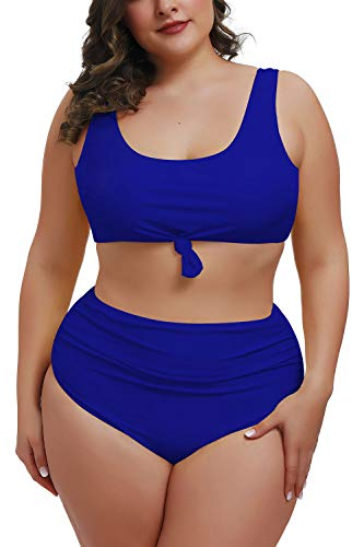 Pink Queen Womens Plus Size Two Piece Bikini Ruched Bottom Crop Tops Bathing Suit Sapphire Blue 3XL