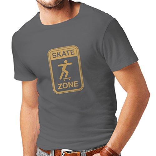 Männer T-Shirt Skate Zone - Für Skater, Skate Longboard, Skateboard Geschenke, Skating Ausrüstung (X-Large Graphit Gold)