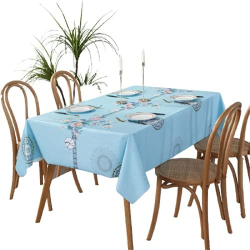 Color Sólido Azul Estampado Patrón PVC A Prueba De Aceite, A Prueba De Manchas E Impermeable Mantel Rectangular De Decoración De Cocina para Cafetería Fiesta En El Jardín Al Aire Libre 140x220cm