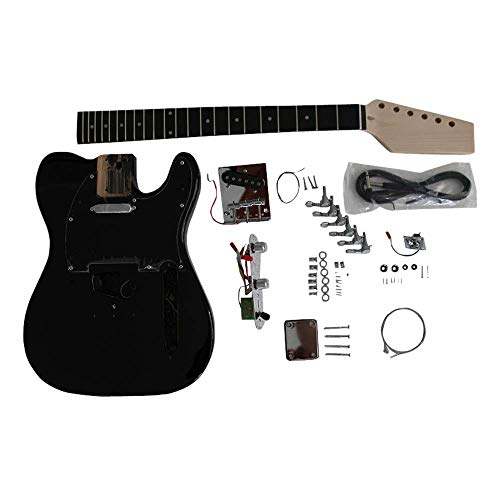 gd6666 Coban Guitars Fresno Cuerpo Guitarra Eléctrica DIY Kit Izquierda Mano Para Estudiante & Luthier proyectos - NEGRO L/H, Full size