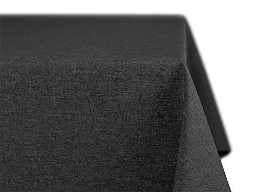 BEAUTEX fleckenabweisende und bügelfreie Tischdecke - Tischtuch mit Lotuseffekt - Tischwäsche in Leinenoptik - Größe und Farbe wählbar, Oval 160x220 cm, Dunkelgrau