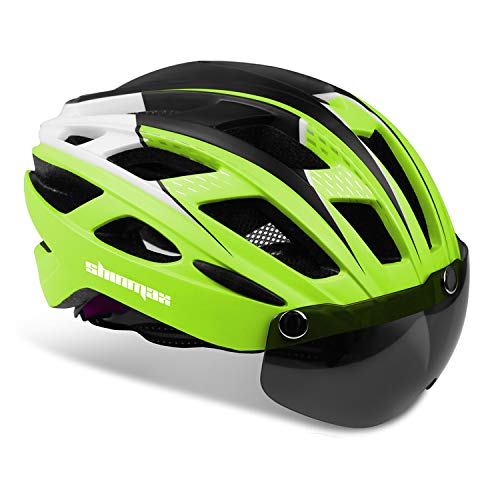 Bike Helmet,Shinmax Bicycle Helmet with Detachable Magnetic Goggles&Led Back Light&Portable Backpack Safety Certificated Cycling/Climbing Helmet Adjustable Mountain Road Bike Helmet Men Women SM-T69