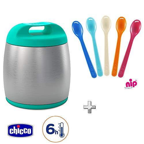 Chicco Termo de 350 ml para alimentos de bebé, antigoteo de acero inoxidable – Thermos Azure + 5 cucharas, sin BPA