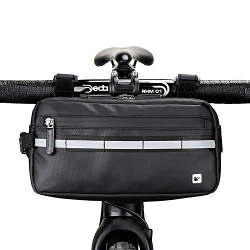 Rhinowalk Bolsa Multifuncional para Manillar de Bicicleta Impermeable Bolsa de Manillar de Bicicletas de Carretera y de Montaña para para Cuadro Superior con Correa de Hombro Desmontable (Negro)