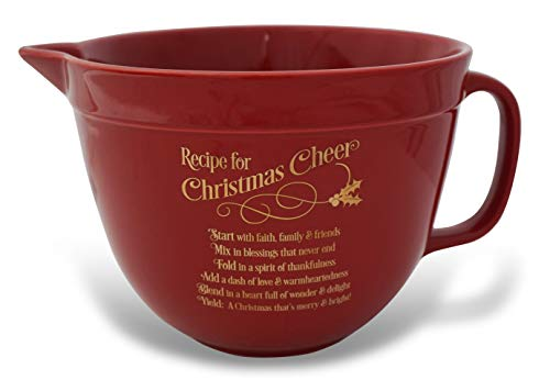 Abbey Gift (Abbey & CA Gift Red Recipe for Xmas Cheer Mixing Bowl, Multi