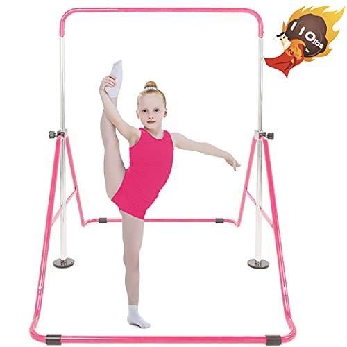 Safly Fun Gymnastics Bars Expandable Children's Training Monkey Folding Bars Climbing Tower Child Play Training Gym (Pink)