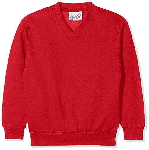 AWDis Boy's Kids Academy V-Neck Sweatshirt School Top, Red (Academy Red),...