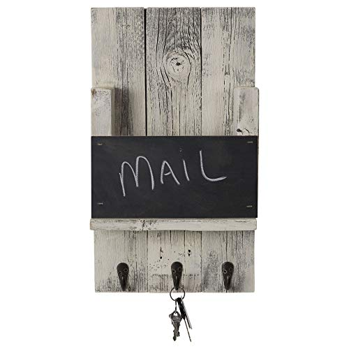 Mail Holder with Key Hooks and Chalkboard for Entry Way | Wall Mount | Handmade Rustic Reclaimed Wood | 18 x 10.5 Inch - Whitewash