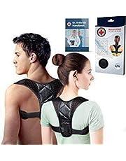 Medisch ontwikkelde houdingcorrector/houdingsondersteuning/houdingsstabilisator/rugbrace + dokter's handboek - instelbaar voor pijn in de bovenrug. Geschikt voor mannen en vrouwen (L, Zwart)