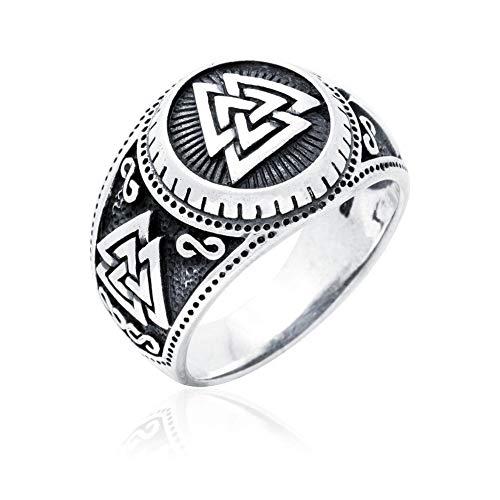 NICEWL Nordische Mythische Rune Ring-Slawischen Odin Symbol Nordischen Text Schmuck, Viking Gothic Herren Edelstahl Ring, Heidnischen Schmuck