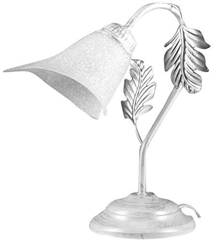 ONLI - Lampada da tavolo Marilena in metallo bianco spennellato argento. Paralume in vetro bianco. Prodotto lavorato a mano in Italia. 29 x 35cm