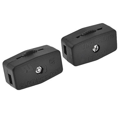 VNDEFUL 2 piezas Negro AC 125V 6A Accionador de rueda de pulgar a través de interruptor de luz de cable de lámpara en línea