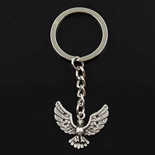 WYNYX Mode Schlüsselbund 22x28mm Adler Falke ausgebreitet Flügel Anhänger DIY Männer Silber Auto Schlüsselanhänger Ringhalter Souvenir für Geschenk