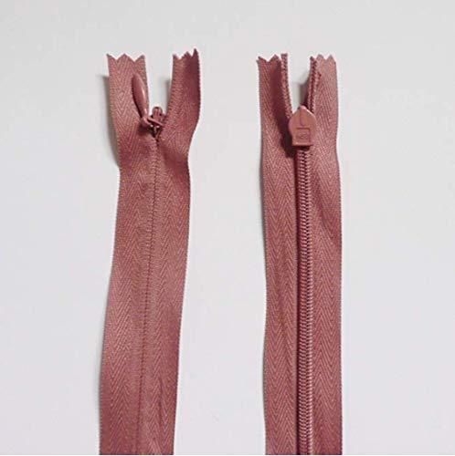 55 cm - 59 cm - 23 pulgadas x 10 cremalleras - Rosa/Salmón/Negro Piel Blanco Nylon Coil cremalleras para costura y manualidades (10 rosa/nude/salmón cremalleras)