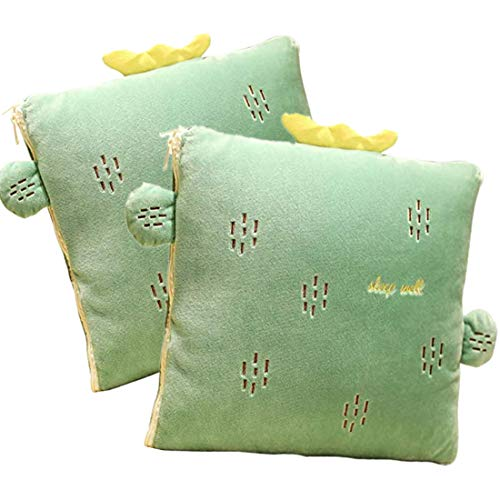 Ecloud Shop Manta Creative Cushion 2 en 1 Pillow Quilt Cojín Multifuncional Cojín Respaldo Cojín Suave y Cálido Siesta Mat Cojines para Sofá Cama Silla de Oficina (2 Piezas, Cactus)